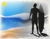 Surfer and the sea Royalty Free Stock Photos