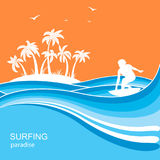 Surfer and sea waves background.Summer nature illustration Royalty Free Stock Images