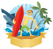 Surfer & Shark. Brave surfer illustrations with shark, palms and waves in background. Vector illustration Royalty Free Stock Image