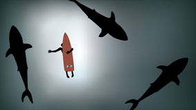Surfer with Sharks Circling stock video footage