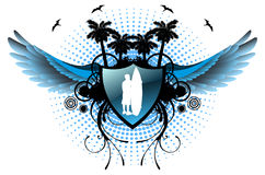 Surfer shield with wings Royalty Free Stock Image