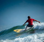 Surfer on the short board Royalty Free Stock Photo