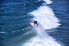Surfer on west coast waves at Manhattan Beach. A surfer shredding the waves at manhattan beach california on the west coast Royalty Free Stock Photography