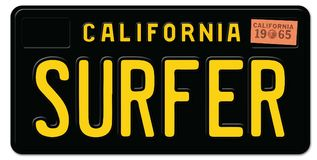 Claifornia Surfter License Plate. Surfer Sign License Plate California Retro Black Metal Embossed 1965 old vintage stock illustration