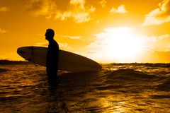 Surfer silhouette. Silhouette of a surfer at sunset Royalty Free Stock Photography