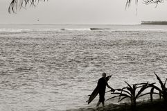 Surfer Silhouette - Black & White Stock Photo