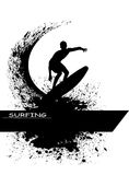 Surfer silhouette on grunge background Royalty Free Stock Photo