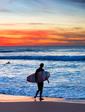 Surfer silhouette Stock Images