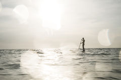 Surfer. Silhouette in the water stock image