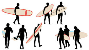 Surfer silhouettes collection Royalty Free Stock Image