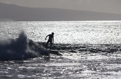Surfer silhoutted tegen de zilveren golven Stock Fotografie