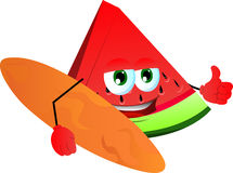 Surfer slice of watermelon with thumb up Royalty Free Stock Images