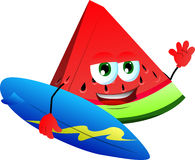 Surfer slice of watermelon Royalty Free Stock Photos