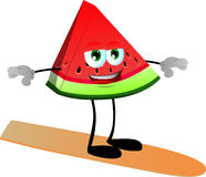 Surfer slice of watermelon Royalty Free Stock Images