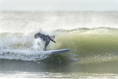 Surfer in small wave Royalty Free Stock Photo