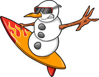Surfer Snowman Vector Stock Image