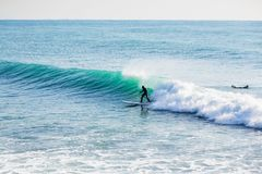 Surfer on stand up paddle board on blue wave. Winter surfing in ocean. Surfer riding on stand up paddle board on big wave. Winter surfing in sea Royalty Free Stock Images