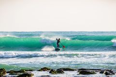 Surfer on stand up paddle board on ocean waves. Surfer riding on stand up paddle board on breaking wave Royalty Free Stock Photography