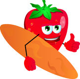 Surfer strawberry with thumb up Royalty Free Stock Image
