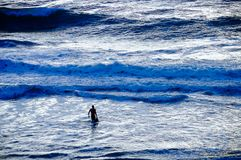 Surfer striding towards big waves in turbulent sea at dusk Royalty Free Stock Photos
