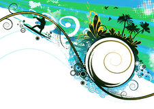 Surfer in summer vector background royalty free illustration