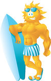 Surfer sun in blue cartoon Royalty Free Stock Images