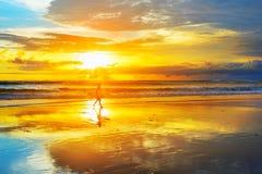 Surfer in sunbeams. Bali island Royalty Free Stock Photo
