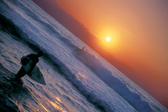 Surfer Sunset 1. A surfer makes his way out to surf during the dying minutes of light Royalty Free Stock Images