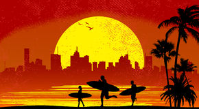 Surfer with sunset. Surfer people with sunset illustration vector Stock Photography