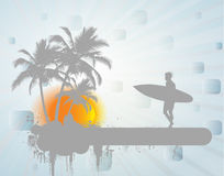 Surfer in sunset Royalty Free Stock Photography