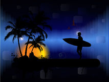Surfer in sunset Stock Photography