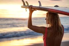 Surfer at sunset. Attractive surfer with surfboard at sunset royalty free stock images