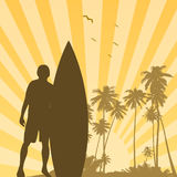 Surfer at sunset background. Surf pro at sunset vector illustration with palms as silhouette Stock Images