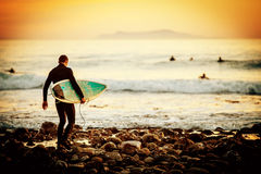 Surfer sunset Royalty Free Stock Images