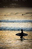 Surfer Sunset. A surfer exiting the water after an evening session Stock Image