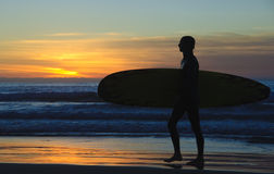 Surfer at Sunset, La Jolla shores Royalty Free Stock Photos