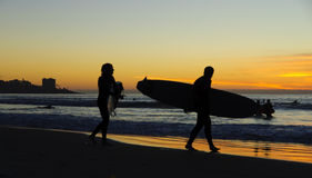 Surfer at Sunset, La Jolla shores. San Diego, California Stock Photo