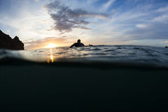 Surfer Sunset Stock Photography