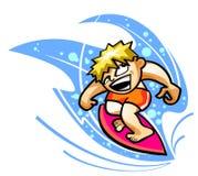 Surfer sur la vague Photographie stock libre de droits