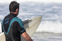 Surfer. Surf on the beach of Los Locos, Cantabria (North of Spain Stock Photo