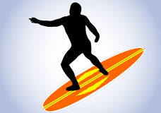 Surfer and surfboard Stock Image