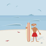 Surfer with surfboard. Stock Photos