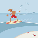 Surfer with surfboard. Stock Images