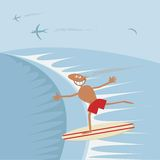 Surfer with surfboard. Royalty Free Stock Photos