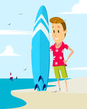 Surfer with surfboard. Illustration Royalty Free Stock Photo