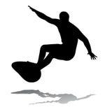 Surfer on surfboard, vector illustration stock image