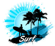 Surfer. Surfing Beach Summer Surf Backgrounds Palm Tree Sun Royalty Free Stock Photos