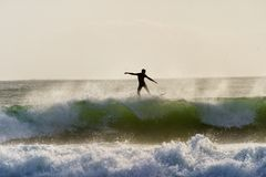 A surfer surfing at Betty`s Bay beach in the Western Cape, South Africa stock image