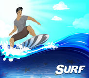 Surfer Surfing Design Over the Wave Underneath Royalty Free Stock Photos