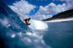 Surfer Surfing on the North Shore in Blue Hawaii Royalty Free Stock Photography